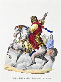 Leader of the Arab army - Original Watercolor Lithograph - 1848 ca.