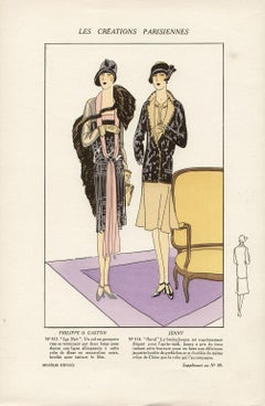 Les Creations Parisiennes, French Art Deco Fashion Design Pochoir, 1926