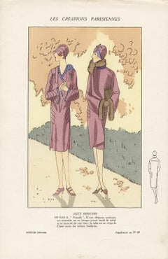 Les Creations Parisiennes, French Art Deco Fashion Design Pochoir, 1926
