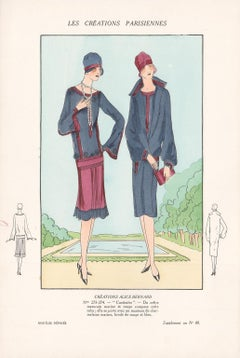 Les Creations Parisiennes, French Art Deco Fashion Design Pochoir, 1927