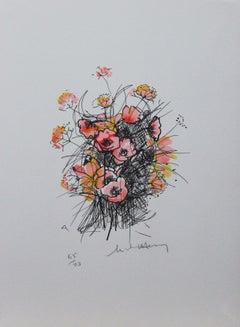 Les Fleurs #5-Limited Edition Print, Artist Signature is Illegible
