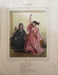 Les Lorettes - Original Lithograph - 19th Century