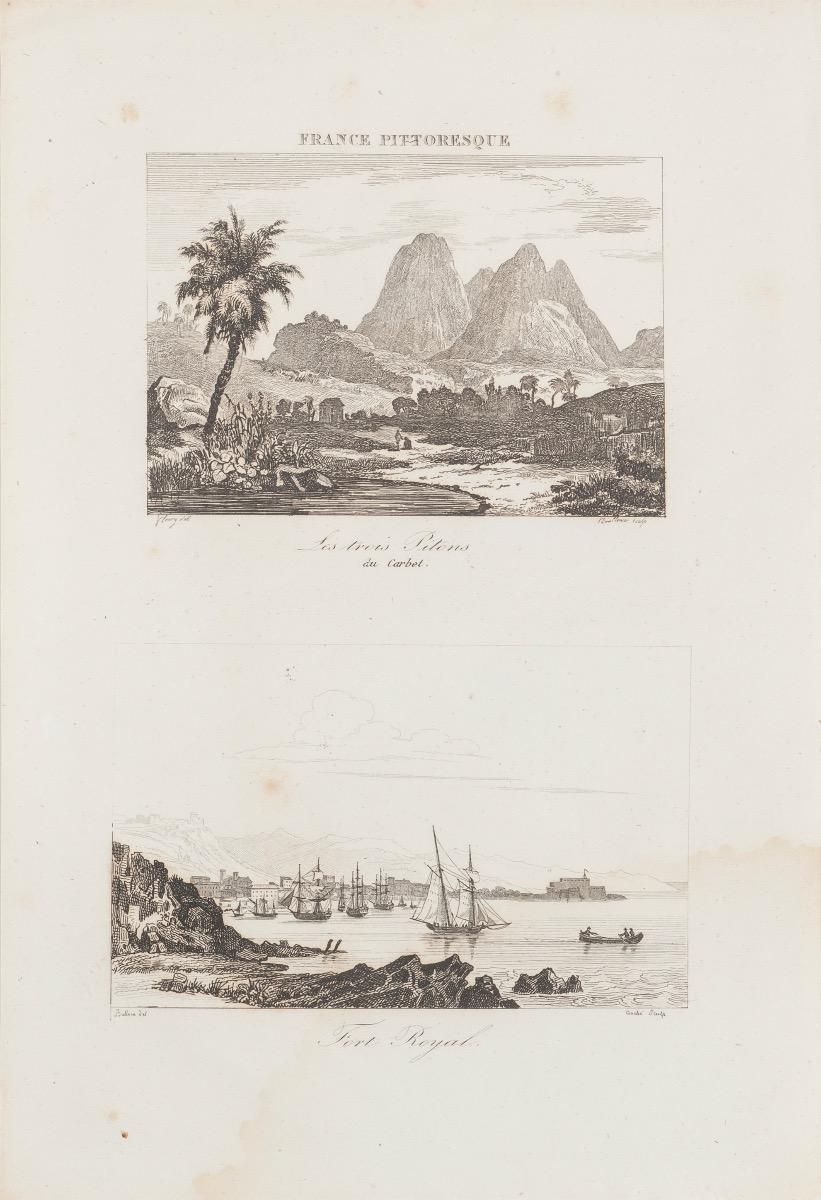 Les Trois Pilons du Carbet / Fort Royal - Original  Etching - 19th century