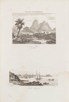 Les Trois Pilons du Carbet / Fort Royal - Original  Etching - 19th century