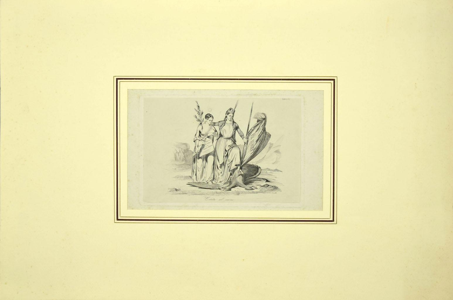 Liberty - Original Etching on Paper - 19th Century