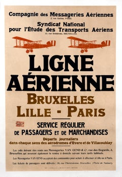 """Ligne Aerienne Bruxelles - Lille - Paris"" Original Antique Aviation Poster"