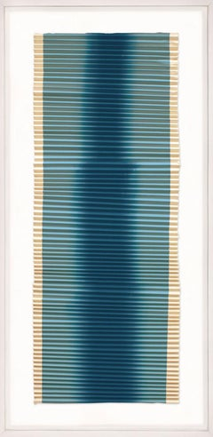 Linear Folded Dreams in Blue, silkscreened bhutan paper, dimensional art