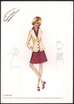 'Lisa' Italian 1960s Women's Fashion Design Illustration