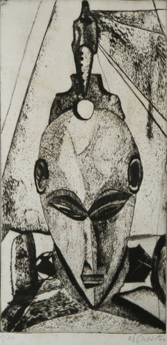 Midcentury African Mask Lithograph French signed