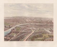 London, England, birds-eye view, chromolithograph, c1870