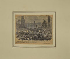 London tribute to G. Garibaldi - Original Etching - 19th Century