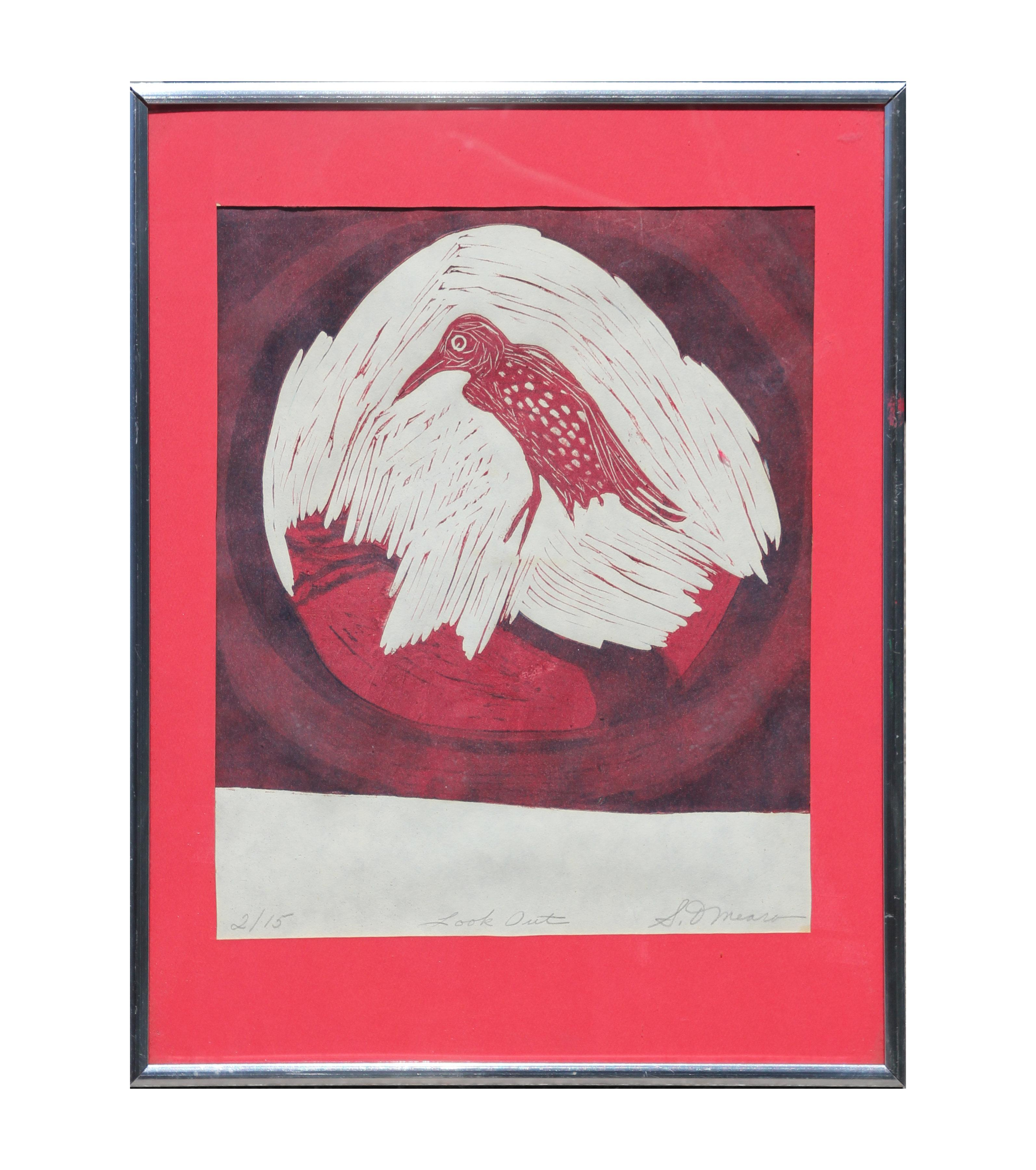 """""""Look Out"""" Red Abstract Bird Woodblock Print Edition 2 of 15"""