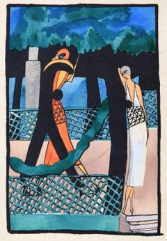Lovers in the Gard / Woodcut Hand Colored in Tempera on Paper - Art Deco - 1920s