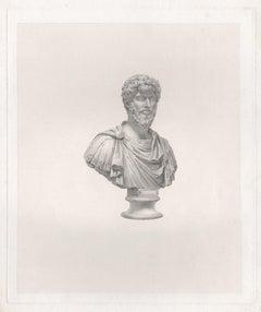 Lucius Verus, Roman Emperor, C18th Grand Tour Classical bust engraving, 1820