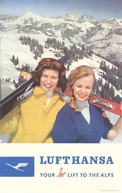 Lufthansa Your Lift to the Alps original vintage travel and ski poster