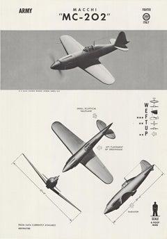"Macchi ""MC-202"" original World War Two vintage spotter airplane poster"