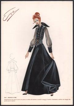 'Madam di Tebe' Italian 1960s Women's Fashion Design Illustration