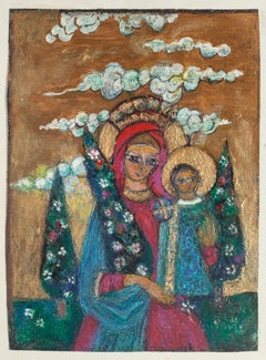 Madonna with Child - Original Oil Painting on Cardboard - 20th Century
