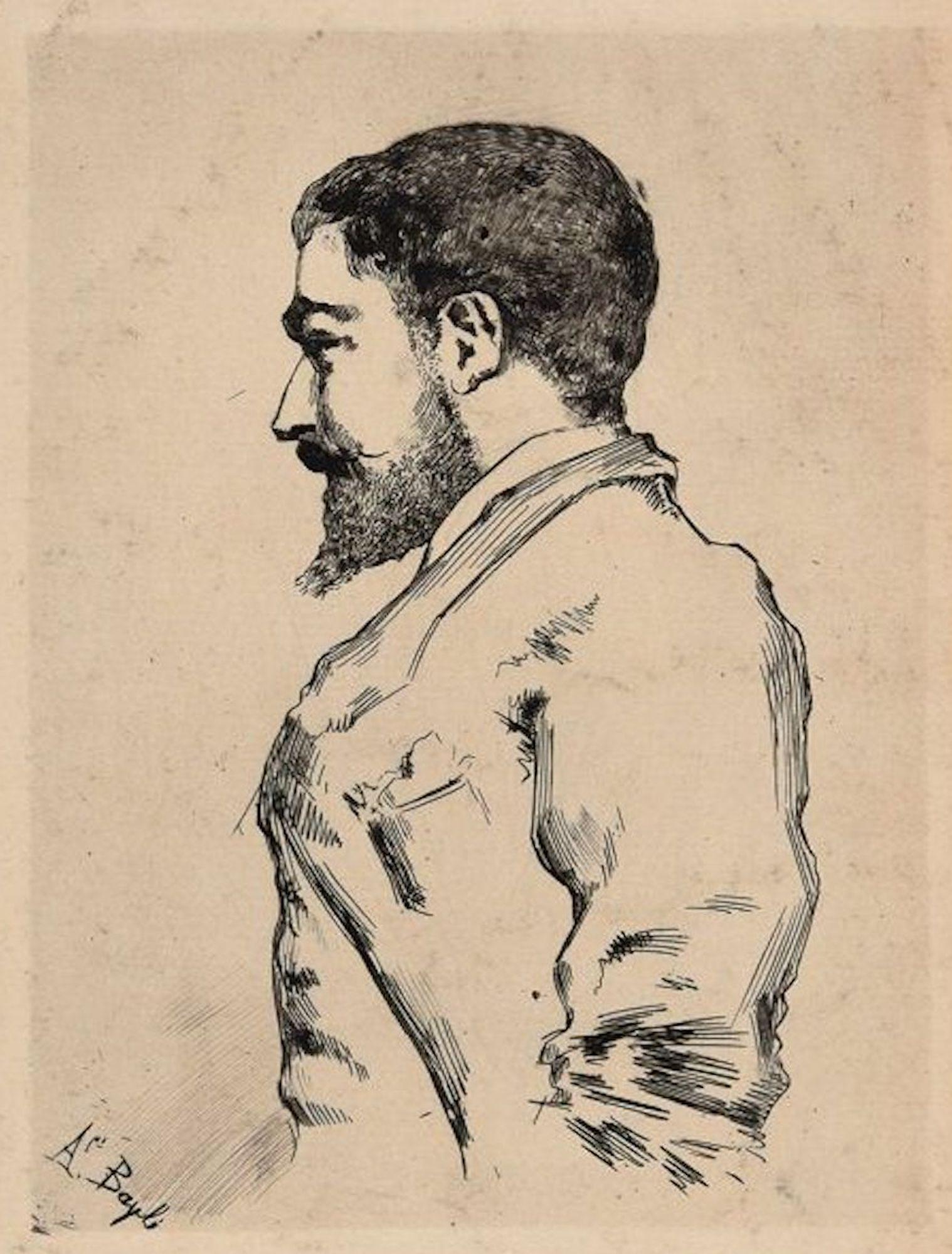 Male Portrait - Original Etching by French Artist End of 1800