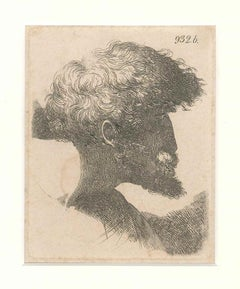 Male Portrait - Original Etching - Late 17th Century