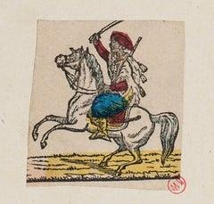 Man on Horseback - Original Etching - 18th Century