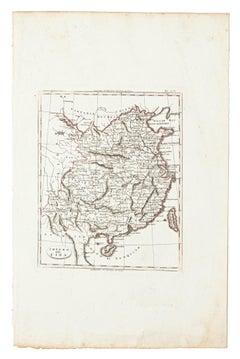 Map of China - Original Etching - 19th Century