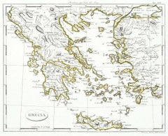 Map of Greece - Etching on Paper 19th Century