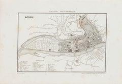 Map of Lyon - Original Etching - 19th Century