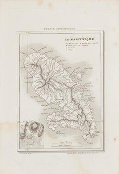 Map Of Martinique - Original Etching - 19th Century