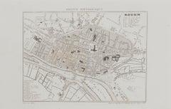 Map of Paris - Original Etching - 19th Century