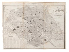 Map of Paris -Vintage Offset Print - Early 20th Century