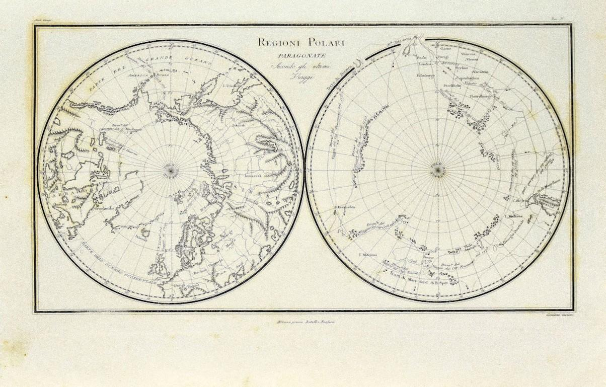 Map of Polar Regions - Original Etching - Late 19th Century