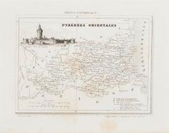Map of Pyrénées - Original Etching - 19th Century