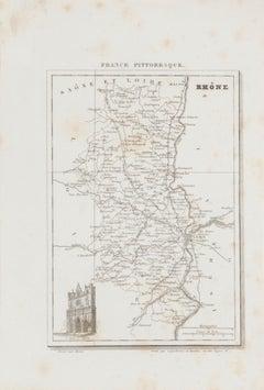 Map of Rhône - Original Etching - 19th Century
