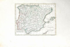 Map of Spain and Portugal - Original Etching - Late 19th Century