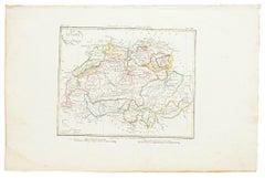 Map of Switzerland - Original Etching - 19th Century