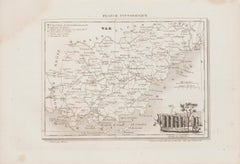 Map of Var - Original Lithograph- 19th Century