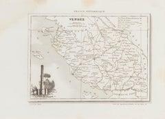 Map of Vendée - Original Etching - 19th Century