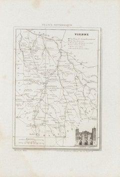 Map of Vienne - Original Etching - 19th Century