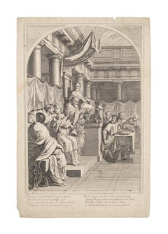 Meeting f the Pope's Sacred Council - Original Etching - 17th Century