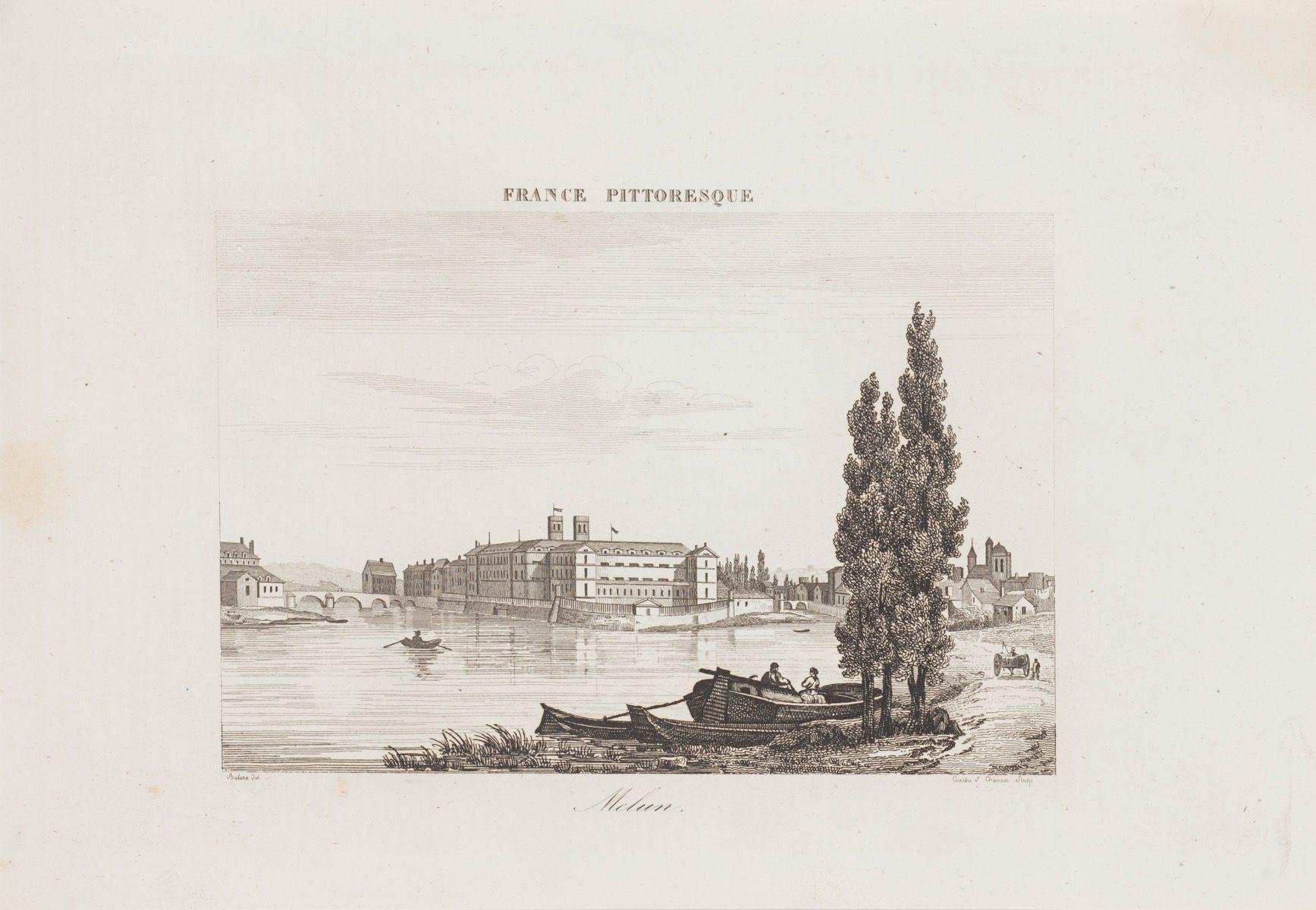 Melun - Original Etching - 19th Century