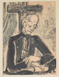 Men - Pair of Original Monotype Woodcuts - Mid 1900
