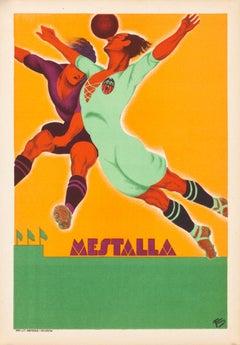 """Mestalla"" Spanish Art Deco Soccer Sports Original Vintage Poster"