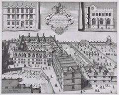 Michael Burghers Pembroke College Oxford engraving print