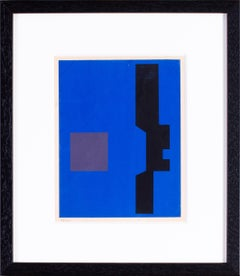 Mid 20th Century black and blue abstract lithograph