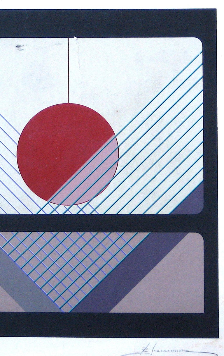 Mid 20th Century Geometric Silkscreen on Paper  - Print by Unknown