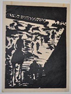 "Mid Century ""Don Quixote at the Paseo"" Woodcut by Michael Christiana C.1961"