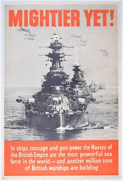 Mightier Yet original c. 1939 World War 2 UK Vintage warship propaganda poster