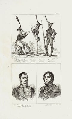 Military Characters - Original Etching - 19th Century