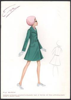 ''Miriam' Italian 1960s Women's Fashion Design Illustration